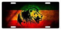 Rasta Flag Custom License Plate Rastafarian Emblem Lion Version