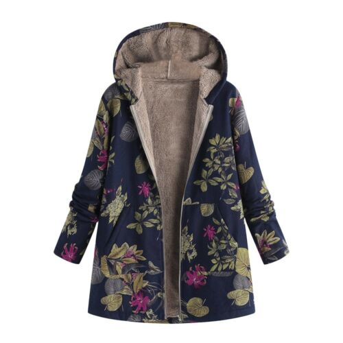 Womens Winter Warm Outwear Floral Print Hooded Pockets Vintage Oversize Coats US