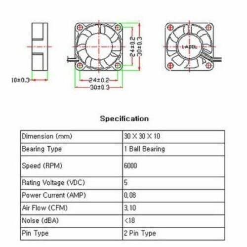 PC Computer Case System Cooling Fan Cooler 5V 5Volt 30mm 2Pin 30x30x10mm Silent
