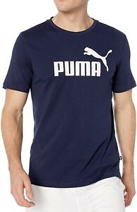 Puma-Mens-T-Shirt-Navy-Blue-Medium-M-Essentials-No-1-Graphic-Tee-Crewneck-135
