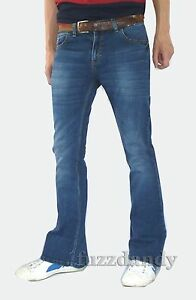 Mens-Faded-denim-bell-bottom-flares-jeans-vtg-60s-70s-indie-mod-hippie-Stonewash