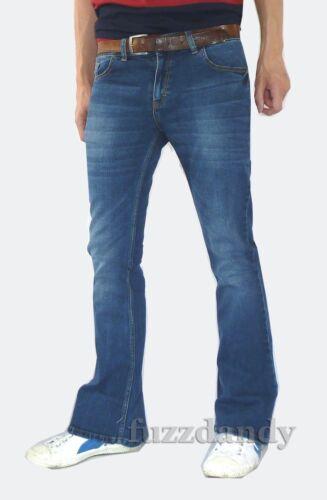 Mens Faded denim bell bottom flares jeans vtg 60s 70s indie mod hippie Stonewash