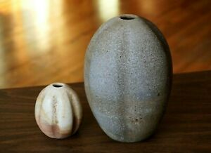 Studio-Pottery-Vase-Pair-Ribbed-Orb-Weed-Pot-Contemporary-Ceramics-Modernist