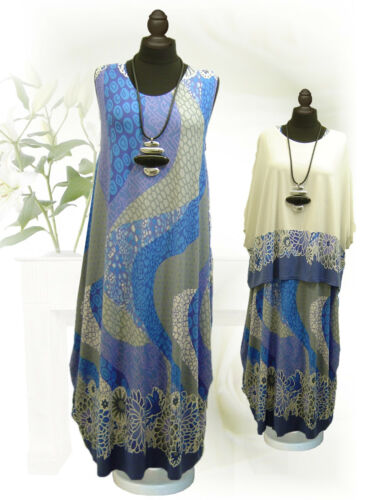 Poco xxxl Ballonkleid 48 Ecru 46 Kleid 44 52 Blau L Design Lagenlook 50 xl xxl xBgHrx6