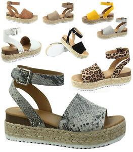Soda-Topic-s-Women-039-s-Fashion-Ankle-Strap-Buckle-Platform-Espadrille-Sandal-Shoes
