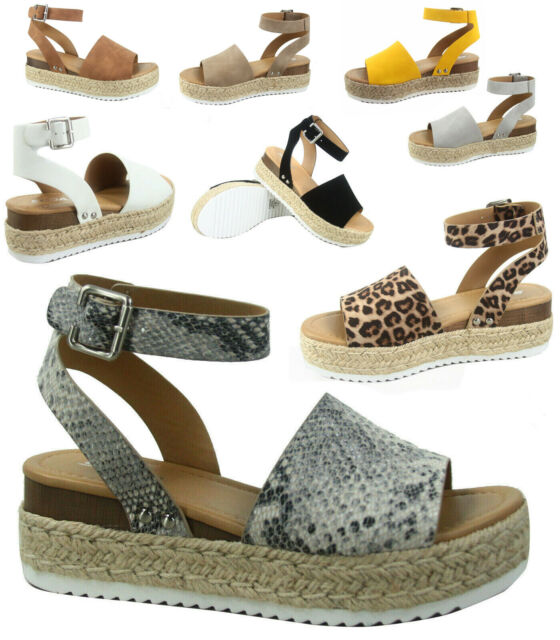 eeaaa93c891dd Soda Topic-s Women's Fashion Ankle Strap Buckle Platform Espadrille Sandal  Shoes