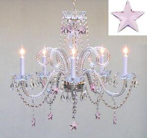 Empress Crystal Tm Chandelier Lighting With Pink Crystal Stars H25 034