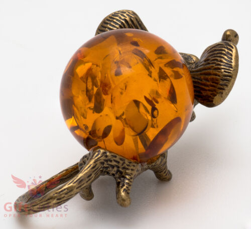 Solid Brass Amber Figurine of Mouse Mice Rat with big smile IronWork