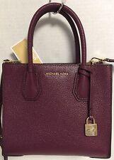 NEW Michael Kors Studio Mercer Medium Plum Bonded Leather Messenger Handbag