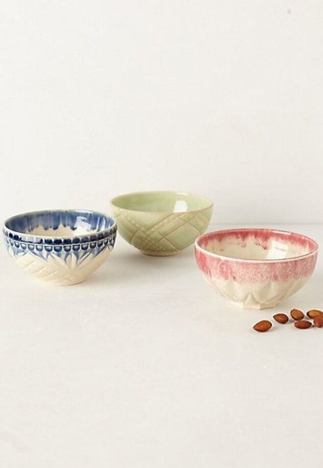 Anthropologie Bowls Stoneware rose Natalya Portugal Nut Bowls New Set Of 5