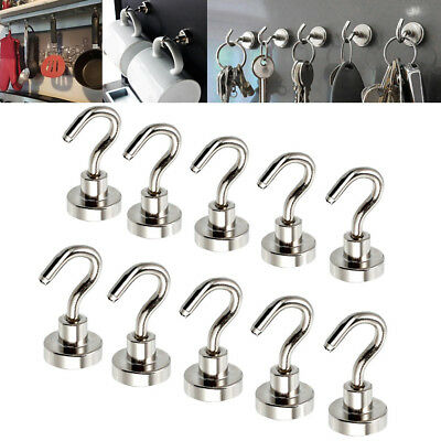 10pc 16mm Magnetic Hook Hooks Heavy Duty Hanger Hanging Pothook Fit Refrigerator
