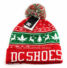 DC Shoes Mens XMAS Puff Knit Red Pom Beanie - One Size
