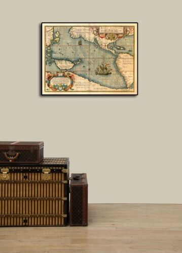 Map of the Pacific Ocean with America 1589 Vintage Style Old World Map 20x28
