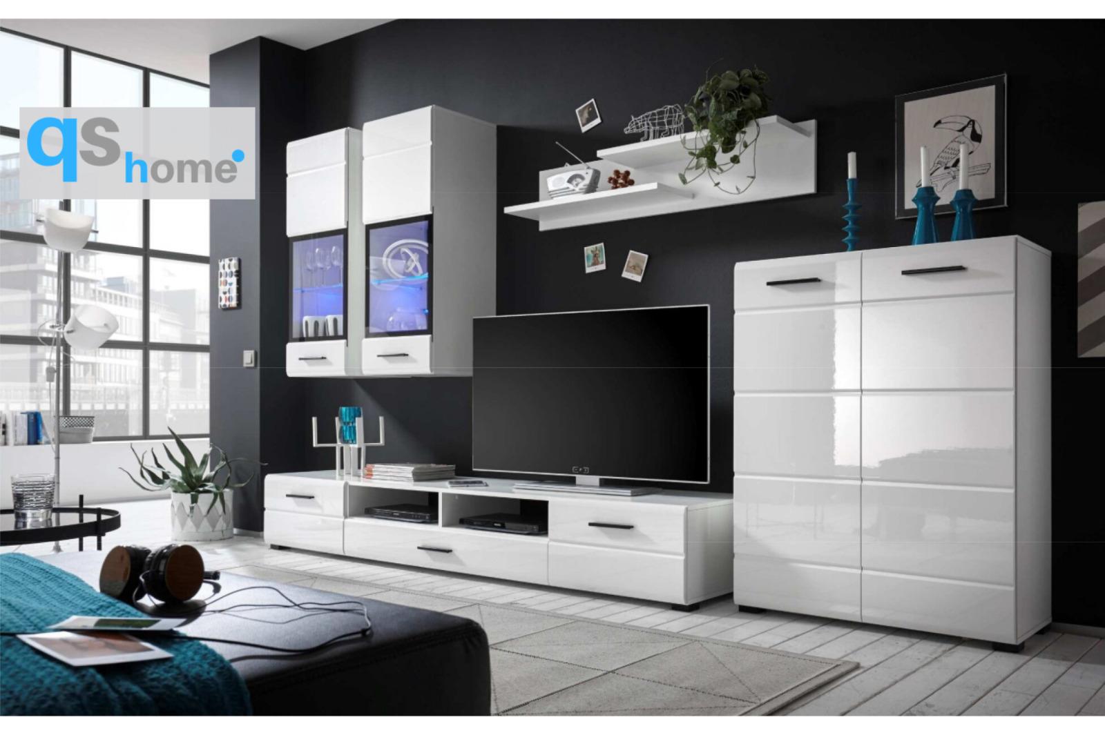Mueble salón comedor luz LED estilo moderno cristal 285 largo blanco brillo