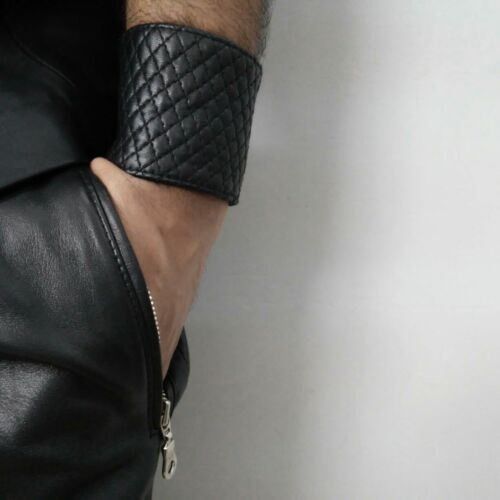 Genuine Leather Quilted Wrist band Bracelet Cuff Chic Unisex Wallet Wristband