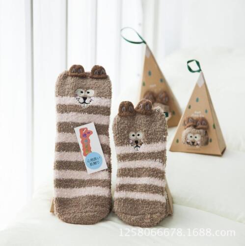 US Portable Cute Winter Xmas Christmas Halloween Pet Coral Fleece Socks Gift Box