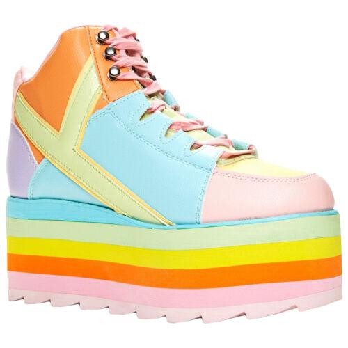Womens up Platform Boots Lace Yru Retro Qozmo Synthetic Pastel Hi YXUY0xw
