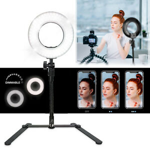 Dimmable Selfie Makeup Ring Light with Gooseneck Table Stand Vlogger YouTuber 602590269807