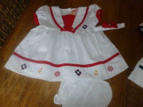 HAIRBAND FREE P/&P SAILOR  RED OR NAVY  DRESS PANTS SET 18//24  MONTHS