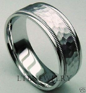 Image Is Loading Hammered 18k White Gold Mens Wedding Band Ring