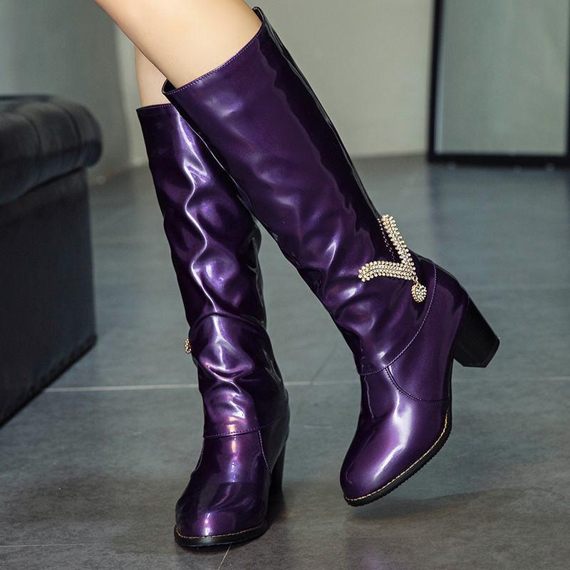 Womens Shiny Patent Leather Rhinestone Decor Low Heels Comfort Knee High Boots