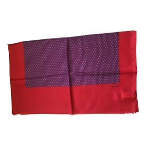 Paul Smith Ladies 100% Silk Scarf  Woven Silk Filigree Red/Blue