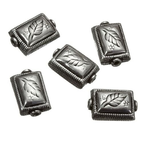 B28//6 Silver soufflé rectangle motif feuille métal perle 17 mm pack de 5