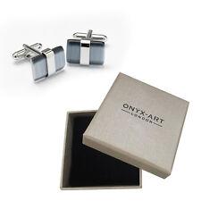 Mens Cats Eye Grey Rectangular Cufflinks & Gift Box By Onyx Art