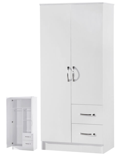 2 Door Wardrobe | 2 Drawers Combi | White High Gloss Two Tone | Furniture Units
