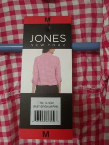 Jones of New York Gingham Check Pink or Black Tie Front Shirt New
