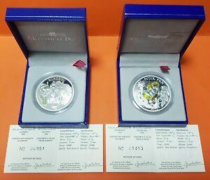 2-coins-FRANCE-1-50-EUROS-2004-PETER-PAN-amp-ALADDIN-SILVER-BOX-COA-PROOF-Francia
