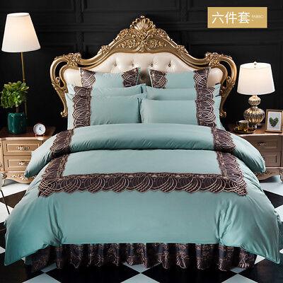Blue Lace Edge Jacquard Queen King 100/% Cotton Duvet Cover Set Luxury 4pc