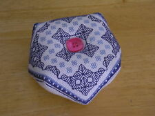 Finished/Completed Cross Stitch Biscornu Pincushion blue hand made