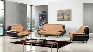 Details about 3 PC Modern Leather Sofa Loveseat Chair Living Room Set