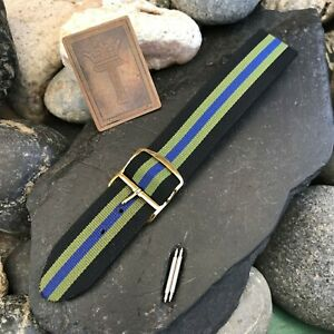 rare-20mm-Perlon-Regimental-Military-Dive-Strap-1960s-Vintage-Watch-Band-nos