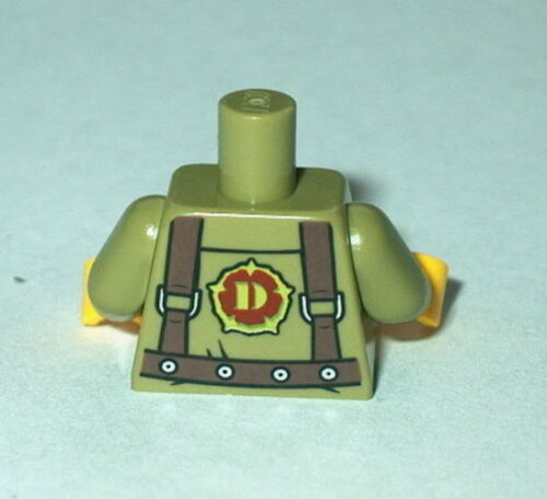 TORSO M008 Lego Male Olive Green Shirt /& Harness Army//Dino w//yellow hands NEW