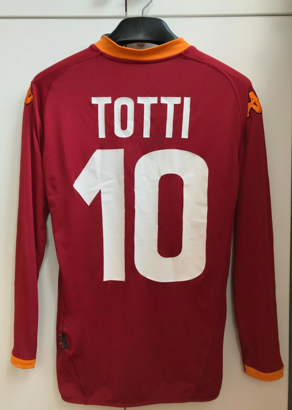 AS ROMA ITALY 2007 2008 HOME FOOTBALL SHIRT JERSEY KAPPA TOTTI  10 LONG SLEEVE