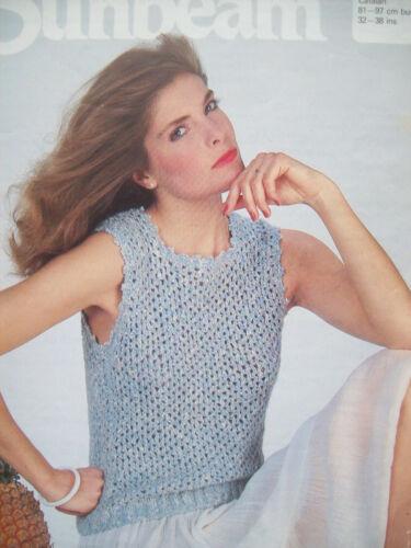 Ladies Vintage Sleeveless TOP KNITTING PATTERN summer 32-38 inch 4ply  746