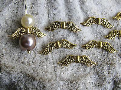 10 Engelsflügel Celine in gold, 2,35cm, Schmuck mit Perlen basteln, Schutzengel