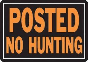 HY-KO-6-Pack-10-034-x-14-034-Aluminum-Posted-No-Hunting-Sign-Hy-Glo-Orange-amp-Black
