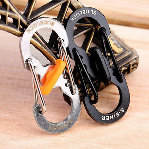 10//4pcs Stainless Steel S-Buckle Clip Snap Hook Dual Carabiner Keychain Keyring