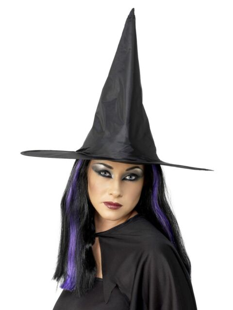 Ladies Tall Black Witches Hat Halloween Wittch Fancy Dress Accessory