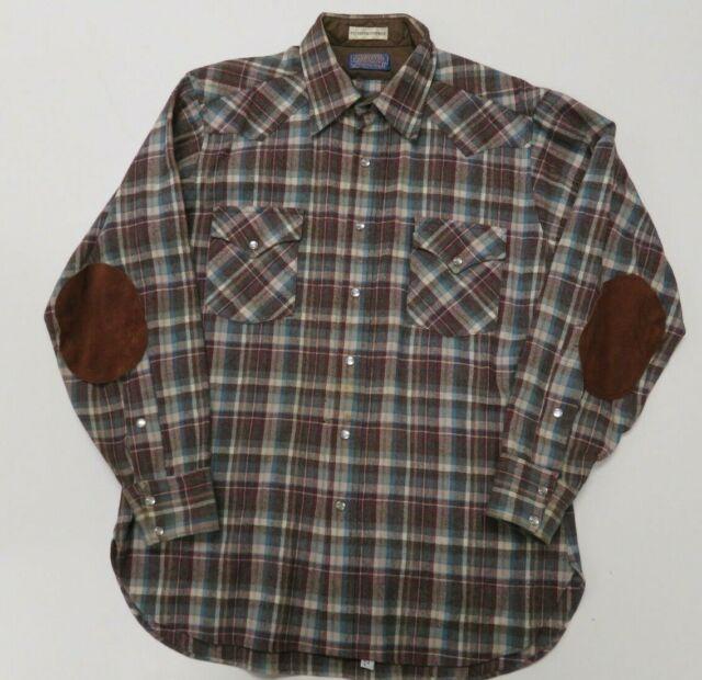 bf71c7a5 Pendleton USA Shirt Vintage 70s High Grade Western Wear Pearl Snap Flannel  Plaid