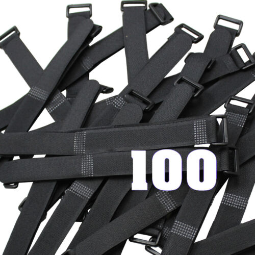 "100pcs 8/"" Black Wrap Cable Ties Wire Cord Straps Reusable Hook /& Loop US Shipper"