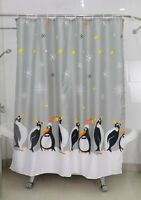 Waterproof Bathroom Shower Curtain Fabric Curtains With Hooks Penguin Grey Optim