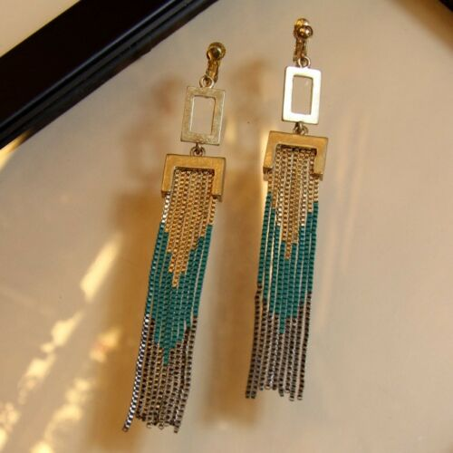 Costume Fashion Earrings Clips on Dangle File Fine Green Black Gold Vintage Gift