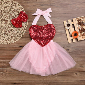 Baby Girls Valentine S Day Party Outfit Sequins Heart Romper Tutu