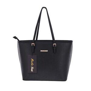 Image is loading Large-Womens-Handbag-Black-Tote-Bag-Famous-Designer- 90c856b774ab