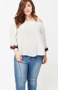 44de035c18f Forever 21 + Rose Floral Embroidered Off The Shoulder Top White Plus ...