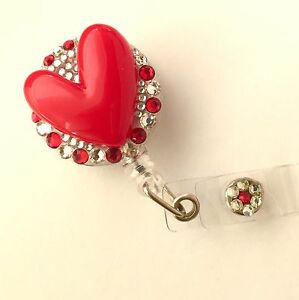 Details about Bling RN Cute Red Heart retractable ID HOLDER badge reel  lanyard retractor